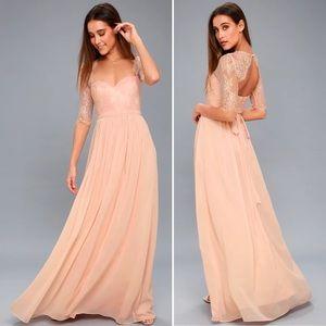 Lulu's In a Fairytale Lace Chiffon Maxi Dress